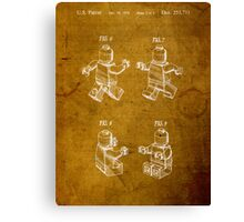 Lego Minifig Vintage Patent on Worn Paper Canvas Print