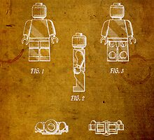 Lego Minifig Vintage Patent 1 on Worn Paper by scienceispun