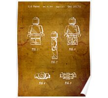 Lego Minifig Vintage Patent 1 on Worn Paper Poster