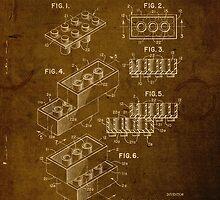 Lego Brick Vintage Patent on Worn Canvas by scienceispun