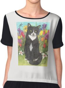 Tuxedo Cat Flower Garden Cathy Peek Art Pets Chiffon Top