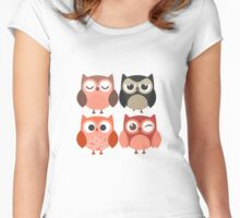 Cartoon Owls with Emotions Women's Fitted Scoop T-Shirt