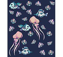 Ocean Life art Jellyfish and Shells Photographic Print