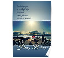 Happy Birthday Card - Evening at the Pier 2 Poster