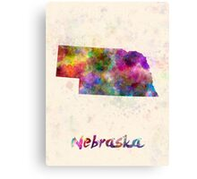 Nebraska US state in watercolor Canvas Print