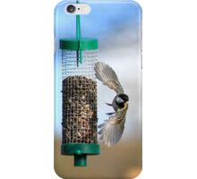 Coal tit flying from seed feeder iPhone Case/Skin