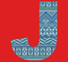 Letter J Blue Aztec Stripes Pattern Boho Monogram Initial Baby Tee