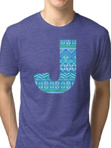 Letter J Blue Aztec Stripes Pattern Boho Monogram Initial Tri-blend T-Shirt