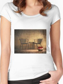 Table and Chairs in Black Women's Fitted Scoop T-Shirt