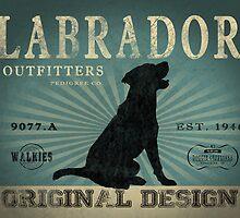 VINTAGE LABRADOR DOG ORIGINAL ART PRINT by DOOLALLY