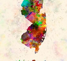 New Jersey US state in watercolor by paulrommer