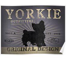 VINTAGE YORKSHIRE TERRIER DOG ORIGINAL ART PRINT PURPLE Poster
