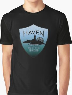 Haven Keep Calm Blue Badge Logo Graphic T-Shirt