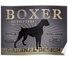 VINTAGE ANIMALS BOXER DOG ORIGINAL ART PRINT PURPLE Poster