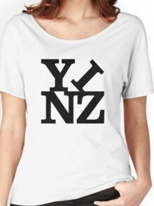 Yinz Black Lettering Women's Relaxed Fit T-Shirt
