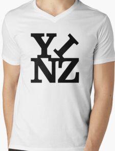 Yinz Black Lettering Mens V-Neck T-Shirt