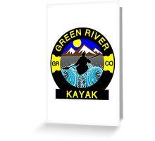 KAYAK GREEN RIVER COLORADO KAYAKING WHITEWATER CANOE CANOEING Greeting Card