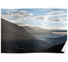Sunrise between the mountains of the Abruzzo National Park Poster