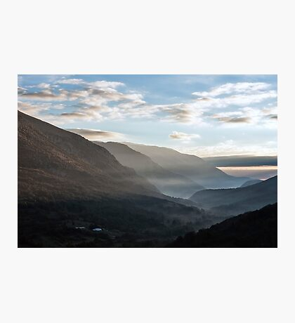 Sunrise between the mountains of the Abruzzo National Park Photographic Print