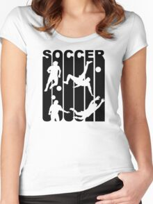 Retro Soccer Players Women's Fitted Scoop T-Shirt