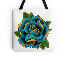 Neotraditional Rose in Blue Tote Bag