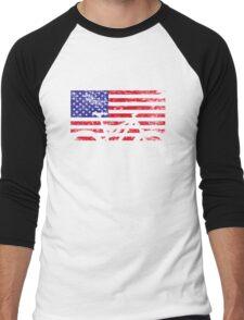American Flag Mountain Bike USA Vintage United States Flag Men's Baseball ¾ T-Shirt