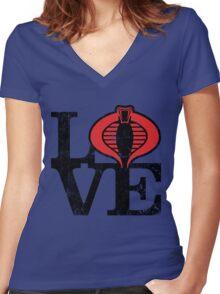 LOVE COBRA Women's Fitted V-Neck T-Shirt