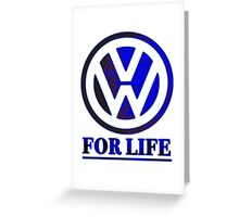 VW for life Blue Greeting Card