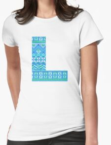 Letter L Blue Aztec Stripes Pattern Boho Monogram Initial Womens Fitted T-Shirt