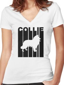 Retro Collie Women's Fitted V-Neck T-Shirt