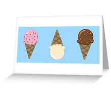 Triple Scoop Pattern Blue Greeting Card