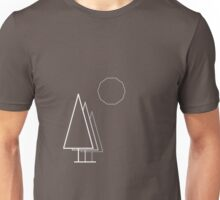 Light linear Trees and Moon. Unisex T-Shirt