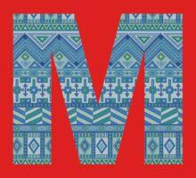 Letter M Blue Aztec Stripes Pattern Boho Monogram Initial Kids Tee