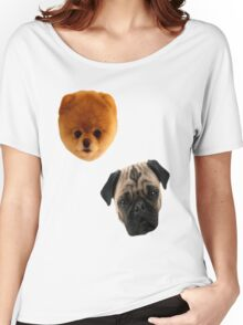 Pug + Pom Background Women's Relaxed Fit T-Shirt