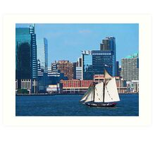 Yacht Against Manhattan Skyline Art Print