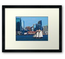 Yacht Against Manhattan Skyline Framed Print