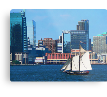 Yacht Against Manhattan Skyline Metal Print