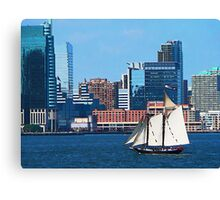 Yacht Against Manhattan Skyline Canvas Print
