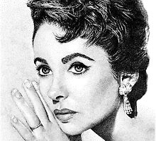 Elizabeth Taylor Stippling Portrait by Joanna Albright