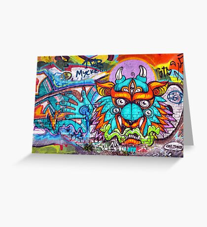 Graffiti Wall Art Tengu. Greeting Card