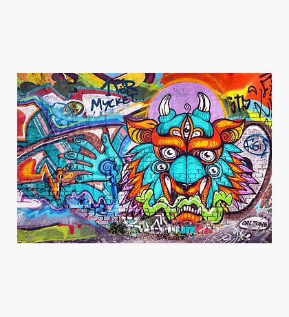 Graffiti Wall Art Tengu. Photographic Print