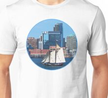 Yacht Against Manhattan Skyline Unisex T-Shirt