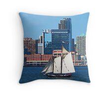 Yacht Against Manhattan Skyline Throw Pillow