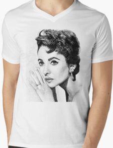 Elizabeth Taylor Stippling Portrait Mens V-Neck T-Shirt