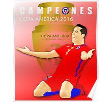 CAMPEONES, CHILE, ALEXIS SANCHEZ, COPA AMERICA 2016 Poster