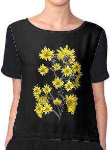 Sunflowers Over Black Chiffon Top