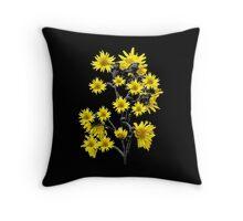 Sunflowers Over Black Throw Pillow