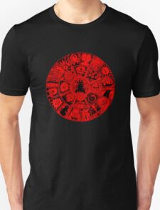 Cat Mandala in Red and Black Unisex T-Shirt