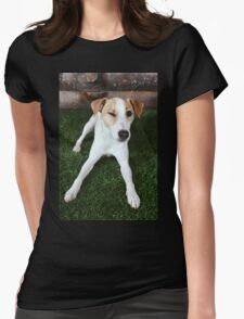 Happy Dog Winking Womens Fitted T-Shirt