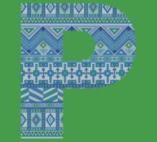 Letter P Blue Aztec Stripes Pattern Boho Monogram Initial Kids Tee